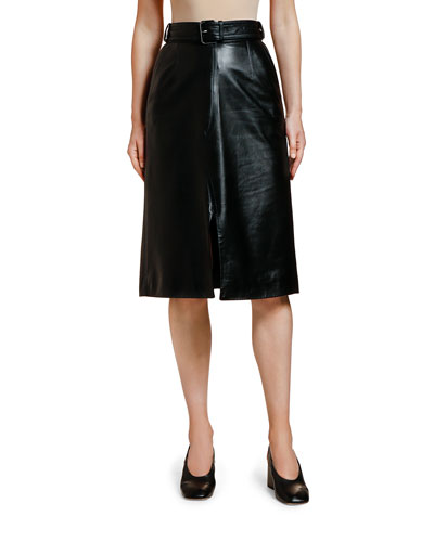 Leather Belted Midi Skirt