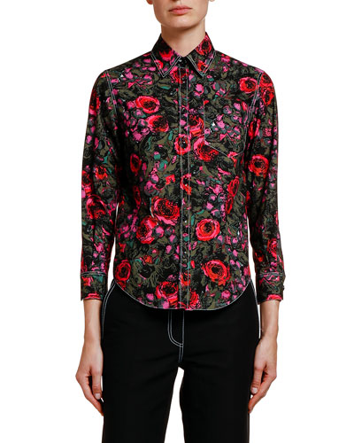 Floral-Print Cotton Poplin Shirt