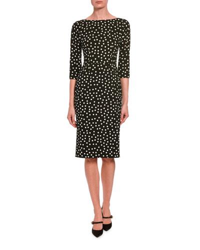 3/4-Sleeve Polka-Dotted Dress
