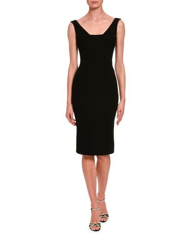 Sleeveless Wool Crepe V-Neck Dress