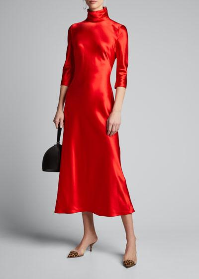 Satin High-Neck 3/4-Sleeve Dress