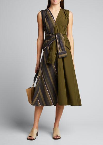 Sleeveless-Sleeve Tie Two-Tone Dress