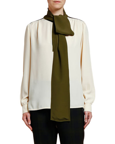 Bow-Neck Georgette Blouse