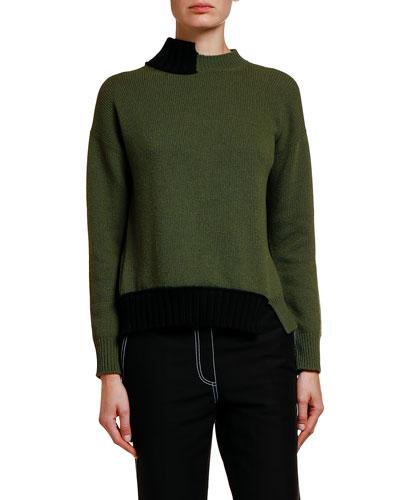 Two-Tone Asymmetric Tie-Back Sweater