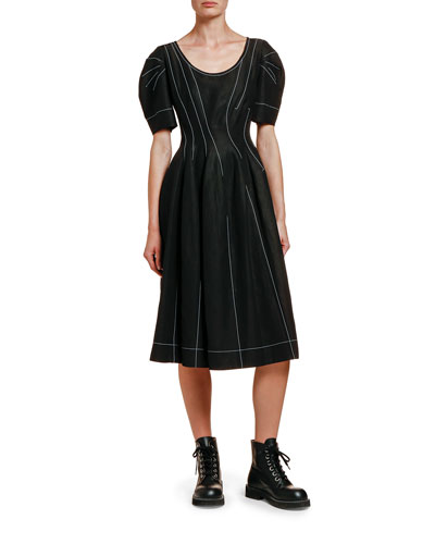 Puff-Sleeve Seamed Sateen Dress