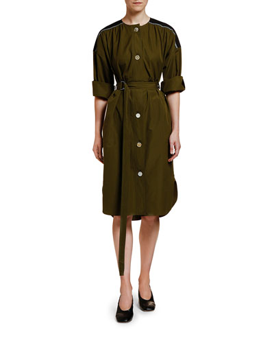 Gabardine Button-Front Dress