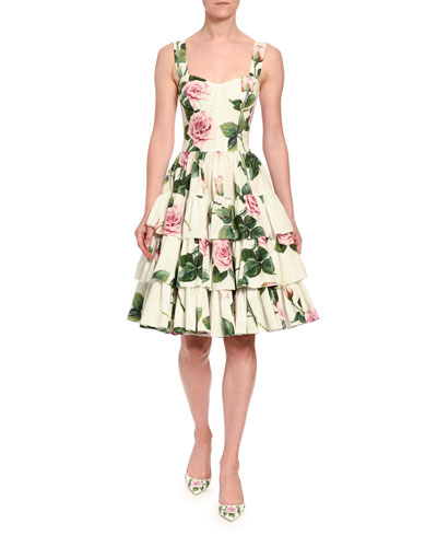 Floral-Print Poplin Sweetheart-Neck Ruffle Dress