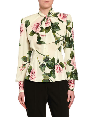 Rose-Print Cady Button-Front Blouse