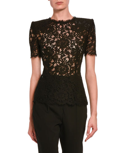 Short-Sleeve Heavy Stretch Lace Blouse