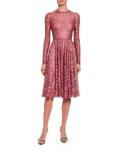 Lame Chantilly Lace Long-Sleeve Dress