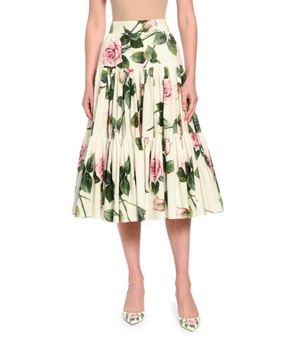 Tiered Rose-Print Poplin Skirt