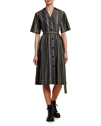 Striped Half-Sleeve Cotton Shirtdress