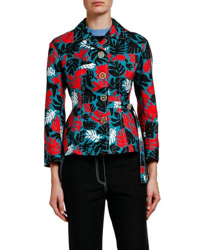 Leaf-Print Polo-Neck Crop Jacket