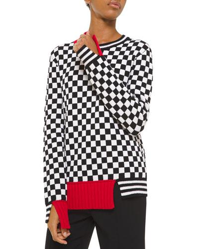 Cashmere Checkerboard-Jacquard Sweater