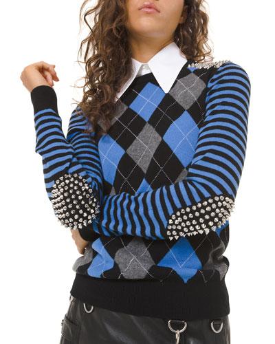 Cashmere Studded Argyle Pullover Sweater