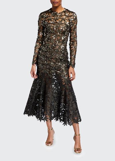 Guipure Leaves Lace Trumpet Dress