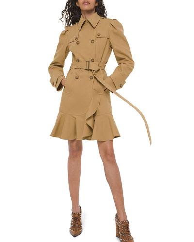 Ruffled Military Trench Coat