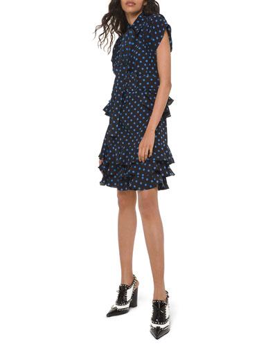 Polka-Dot Ruffled Silk Peplum Shirtdress