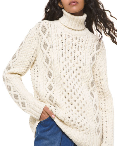Hand-Knit Studded Cable-Knit Sweater