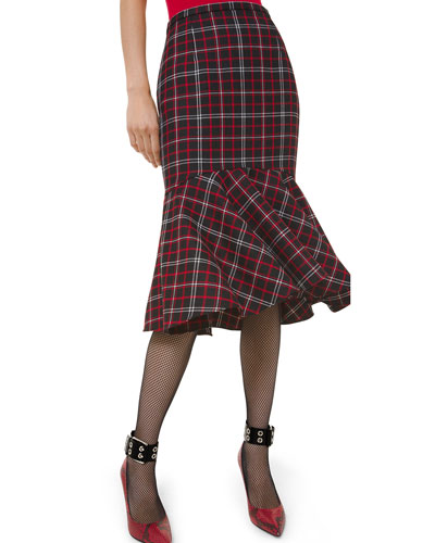 Plaid Wool Flare-Hem Pencil Skirt