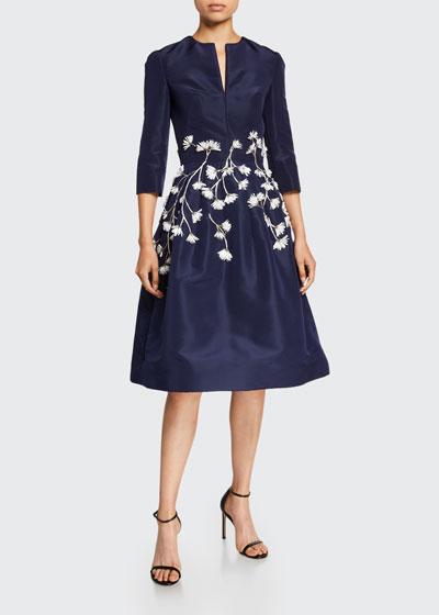 Embroidered V-Neck Silk Satin Dress