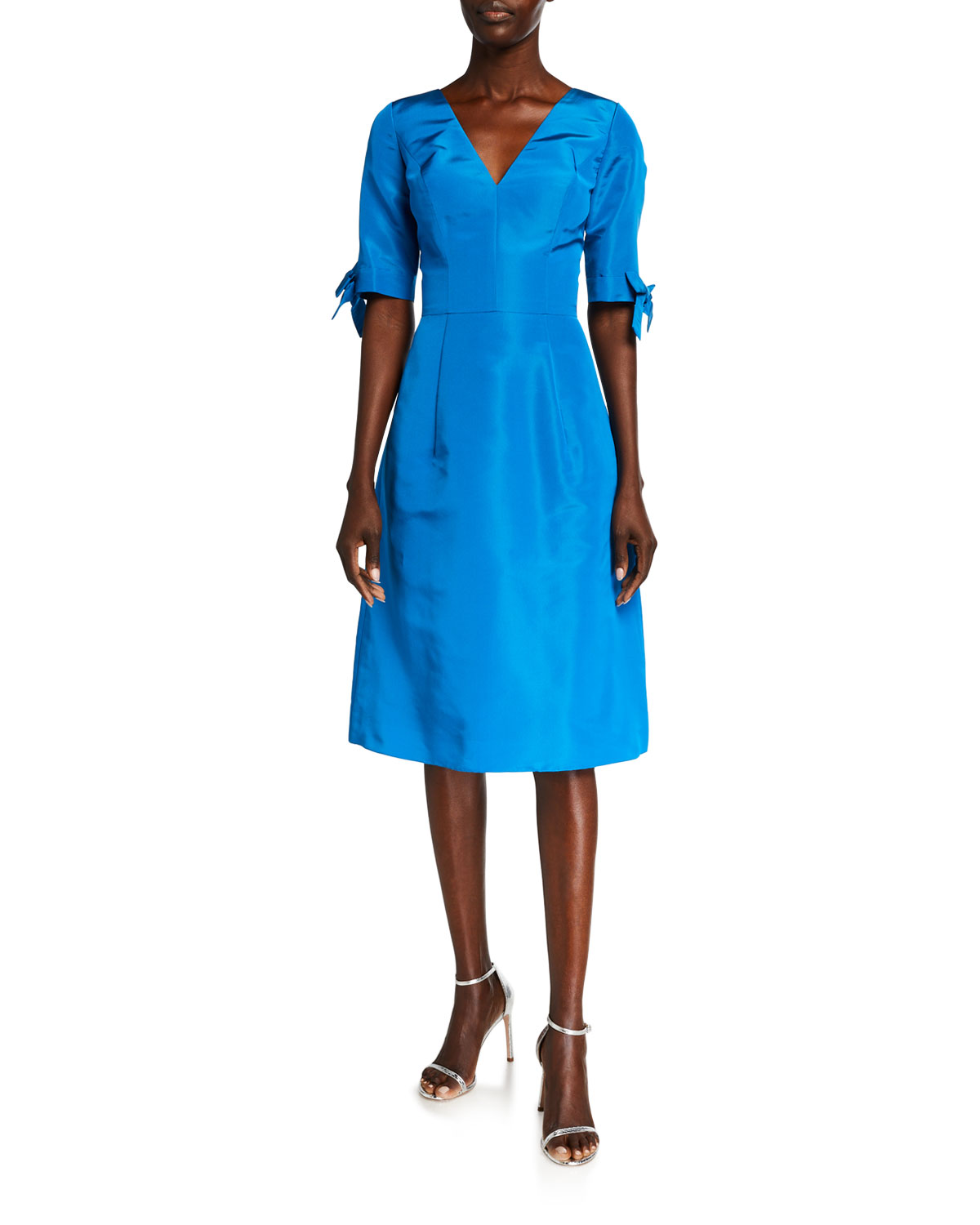 Carolina Herrera 1/2-SLEEVE SILK FAILLE DRESS