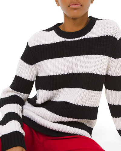 Cashmere Striped Shaker-Stitched Sweater