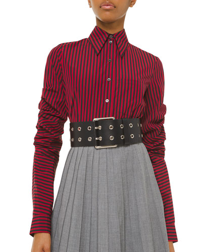 Ruched-Sleeve Pinstriped Button-Front Shirt
