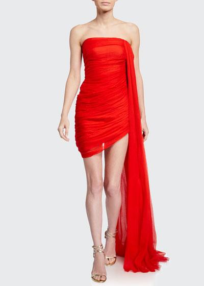 Draped Chiffon Strapless Mini Dress