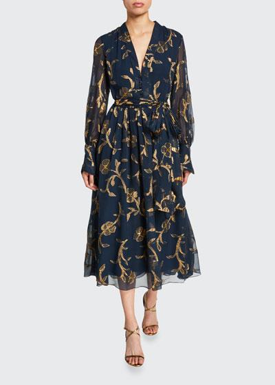 Metallic-Embroidered Chiffon Tea Length Dress