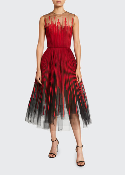 Embroidered Tulle Tea-Length Dress