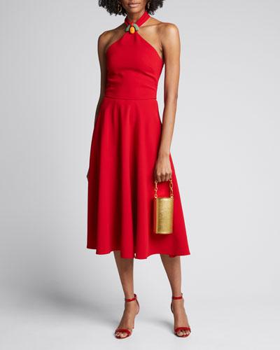 Arleen Beaded Halter-Neck Dress