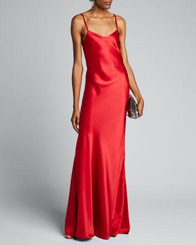 Evelyn V-Neck Satin Slip Evening Gown