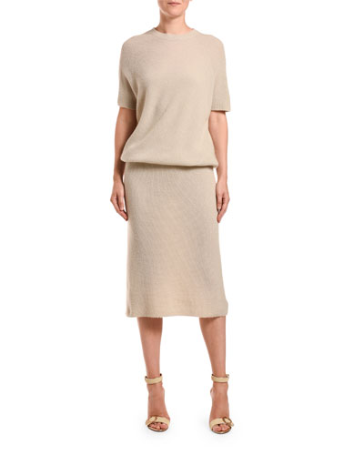 Short-Sleeve Ribbed Cashmere Dress