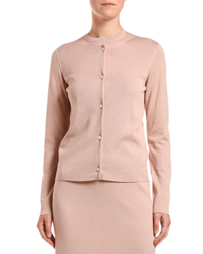 Wool-Cashmere Button-Front Cardigan