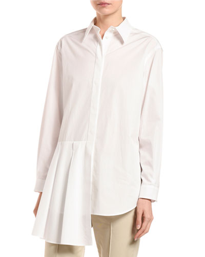 Luxury Poplin Asymmetric Peplum Shirt