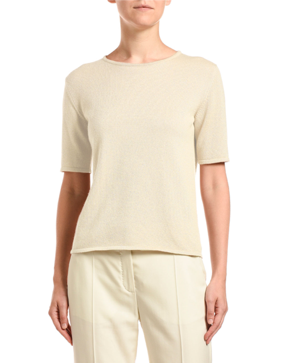 Agnona Sweaters CASHMERE SHIMMERED SHORT-SLEEVE SWEATER