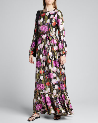 Dianora Metallic Floral Jacquard Maxi Dress