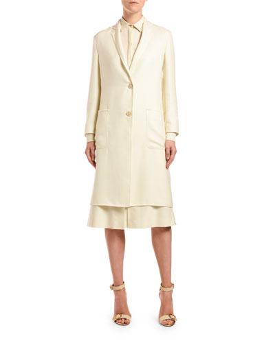Cashmere-Silk Button-Front Coat