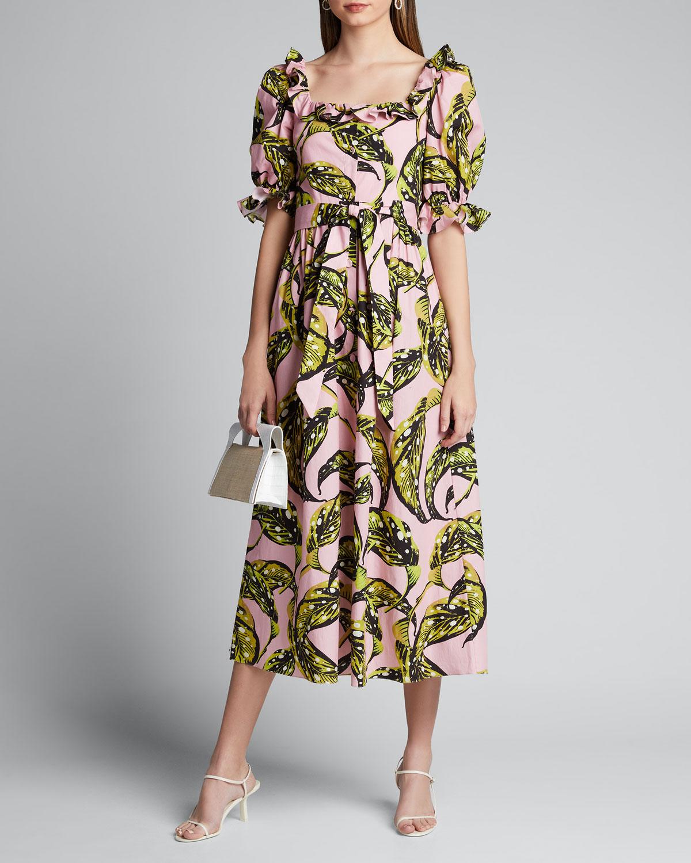 Borgo De Nor Dresses CORINA LEAF-PRINT POPLIN PUFF-SLEEVE DRESS