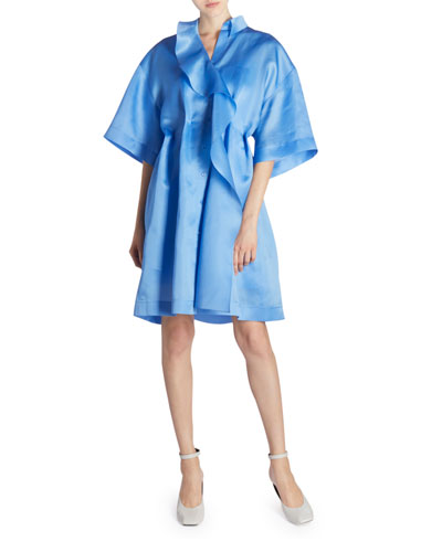 Ruffled-Silk Oversized Shirtdress