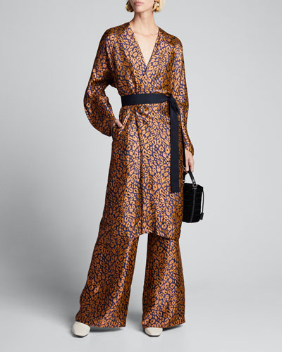 Sarah Animal-Print Draped Pants