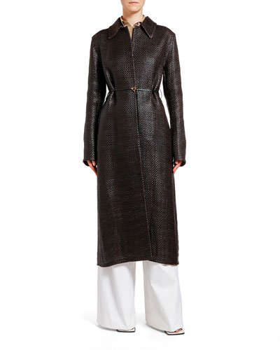 Woven Leather Trench Coat