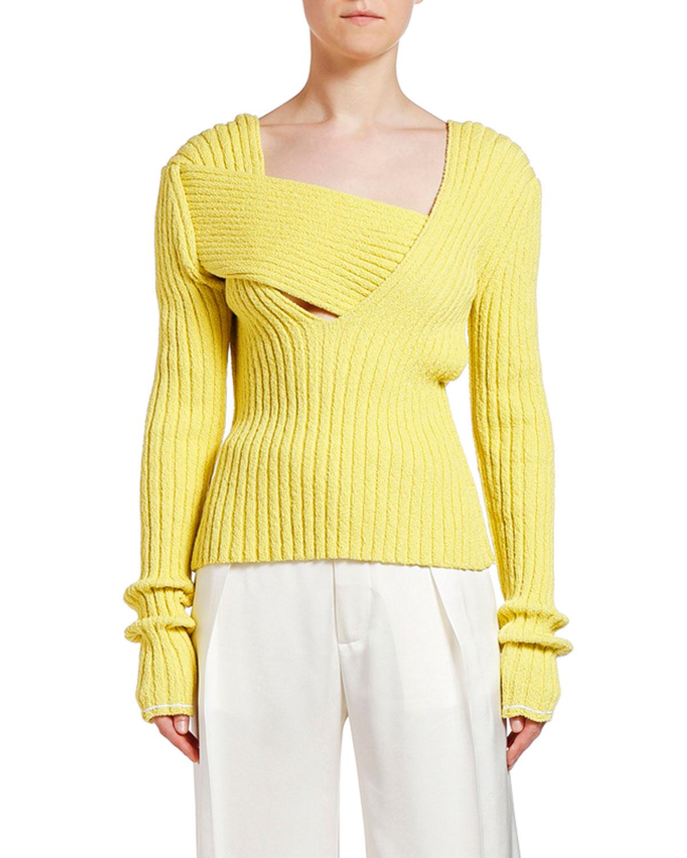 Bottega Veneta Sweaters ASYMMETRIC SQUARE-NECK RIBBED SWEATER