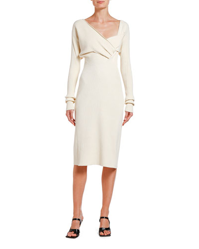 Ruched Ribbed Sweater Dress