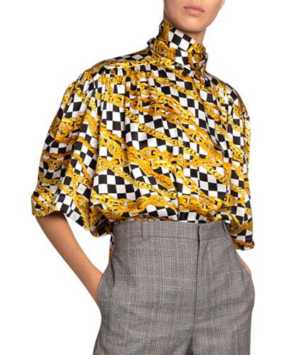 Chain Print Silk High-Neck Scarf Blouse