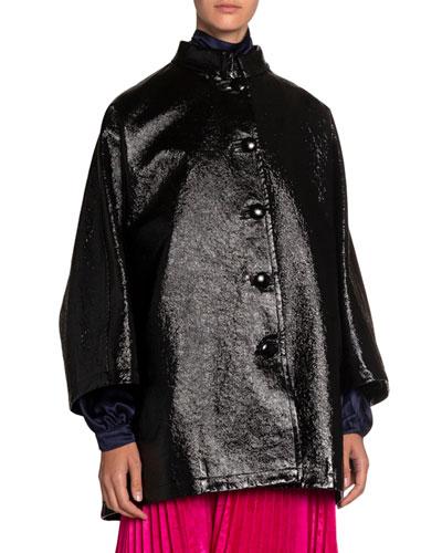 Coated Denim High-Neck Opera Coat
