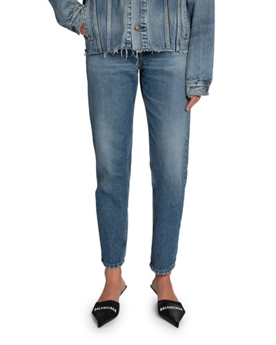 High-Rise Cropped Slim-Leg Jeans