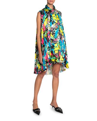 Pleated Satin High-Neck Dress
