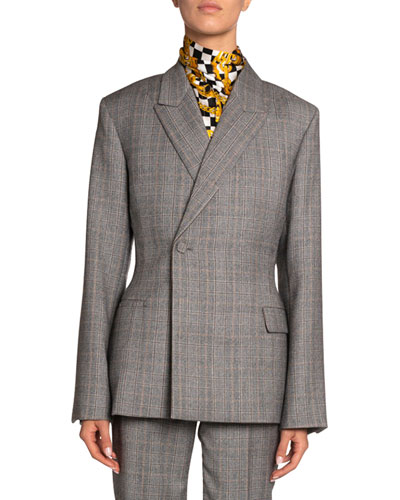 Checked Wool Blazer Jacket